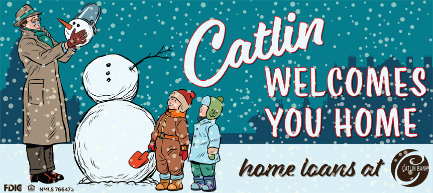 Winter Picture - Catlin Bank Welcomes you Home - loans at Catlin Bank
